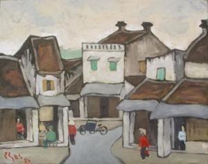 [phố Phát Lộc, (1986) ~ tranh sơn dầu Bùi Xuân Phái]