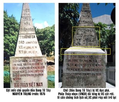 So sánh hai cột mốc 'di tích lịch sử Chủ quyền' của chính phủ miền Nam VNCH, và 'cột mốc mới' do Bắc cộng xâm lược Hà Nội, ngụy tạo, vá víu để sử dung vào thời kỳ đang xẩy ra tranh chap quốc tế về Biển, Đảo!